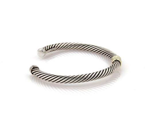 David Yurman Single Bar Cable Sterling & 14k Yellow Gold Cuff Bangle Bracelet Image 2