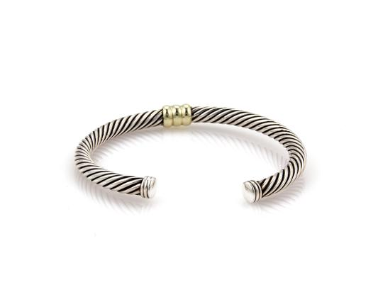 David Yurman Single Bar Cable Sterling & 14k Yellow Gold Cuff Bangle Bracelet Image 3