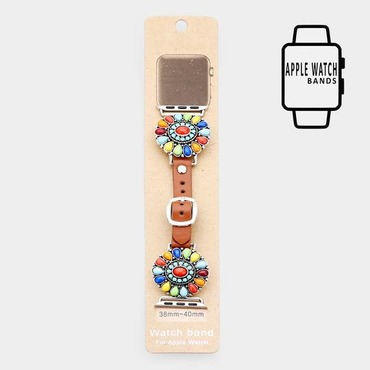 Other Natural Stone Detail Apple Watch Leather Strap Band Image 2