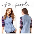 Free People Button Down Shirt blues and red and white Image 1