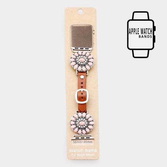 Other Natural Stone Detail Apple Watch Leather Strap Band Image 1