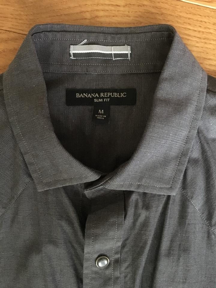 Banana Republic Grey Or Blue Men's Perfect Condition Shiny Buttons  Button-down Top Size 8 (M) 66% off retail