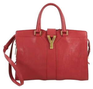 Saint Laurent Chyc Cabas Tote Satchel in red