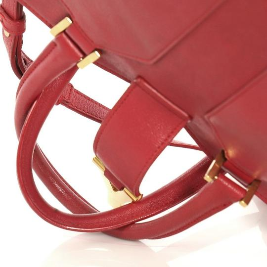 Saint Laurent Chyc Cabas Tote Satchel in red Image 5