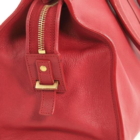 Saint Laurent Chyc Cabas Tote Satchel in red Image 7