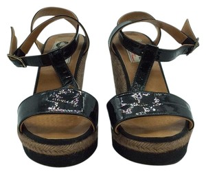 Lanvin Espadrille Black and Brown Wedges