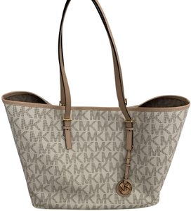 Michael Kors Mk Logo Pattern And Tote in White with Tan print