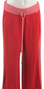 St. John Knit Relaxed Pants Red and Pink