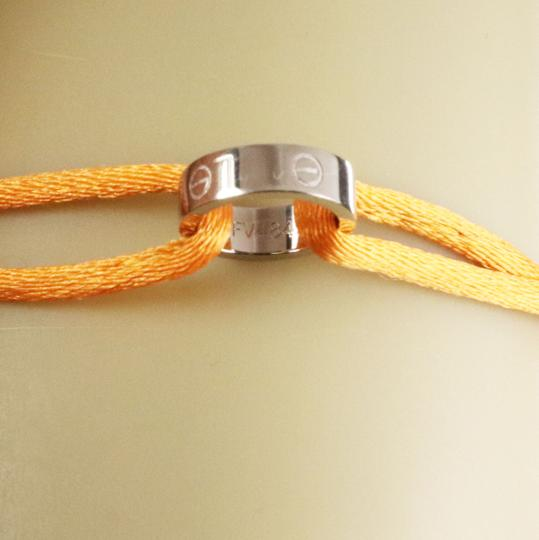 Cartier Love 18k White Gold Mini Charm Ring Charity Orange Cord Bracelet Image 2
