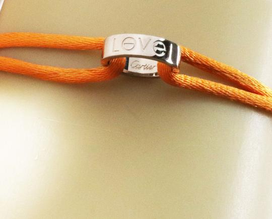 Cartier Love 18k White Gold Mini Charm Ring Charity Orange Cord Bracelet Image 3