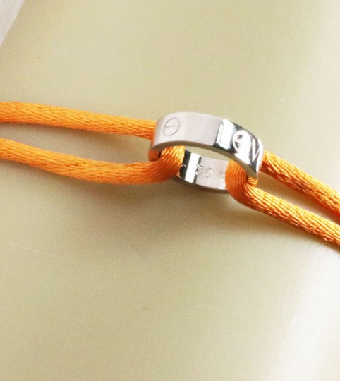 Cartier Love 18k White Gold Mini Charm Ring Charity Orange Cord Bracelet Image 4