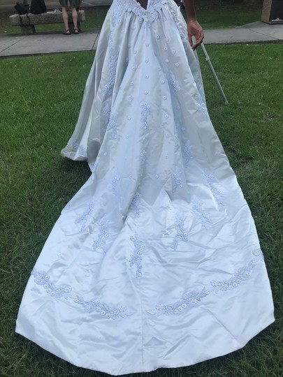 Platinum White Satin with Pearl Beadings Gown Traditional Wedding Dress Size 4 (S) Image 2