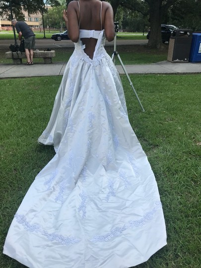 Platinum White Satin with Pearl Beadings Gown Traditional Wedding Dress Size 4 (S) Image 3