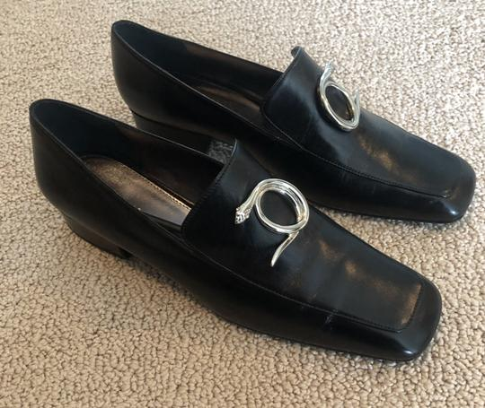 Dorateymur Loafer Leather Square Toe Black Flats Image 1