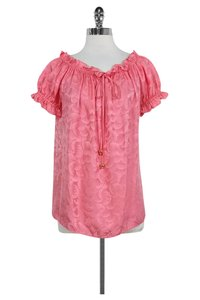 MILLY Off The Shoulder Ruffle Silk Top Watermelon Pink