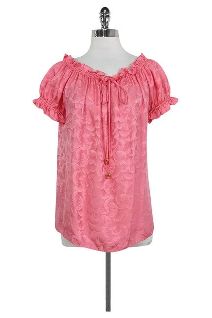 Preload https://img-static.tradesy.com/item/25765385/milly-watermelon-pink-tonal-print-off-the-shoulder-silk-blouse-size-4-s-0-0-650-650.jpg