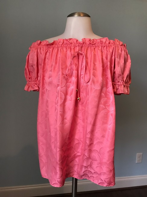 MILLY Off The Shoulder Ruffle Silk Top Watermelon Pink Image 1
