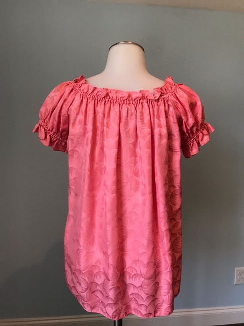 MILLY Off The Shoulder Ruffle Silk Top Watermelon Pink Image 3