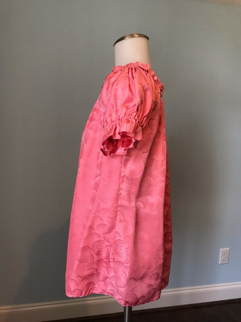MILLY Off The Shoulder Ruffle Silk Top Watermelon Pink Image 4