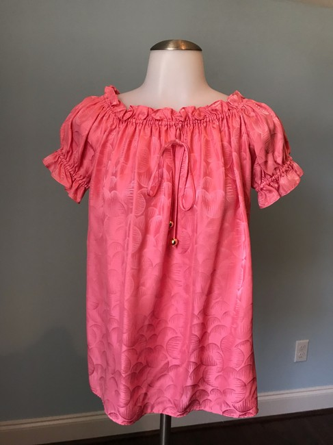 MILLY Off The Shoulder Ruffle Silk Top Watermelon Pink Image 5