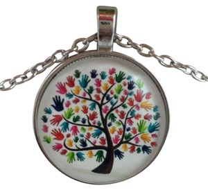 Other Tree of Life Cabochon Glass Charm Necklace