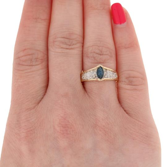 Wilson Brothers Jewelry .77ctw Marquise Cut Sapphire & Diamond Ring - 14k Yellow Gold E4488 Image 2