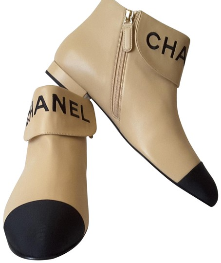 Chanel Ankle Beige/black Boots Image 0