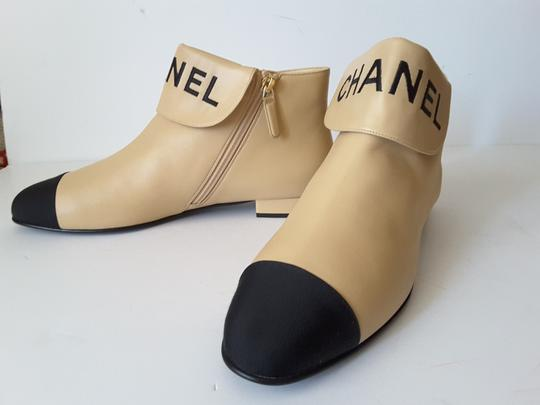 Chanel Ankle Beige/black Boots Image 1