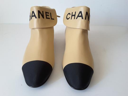 Chanel Ankle Beige/black Boots Image 2