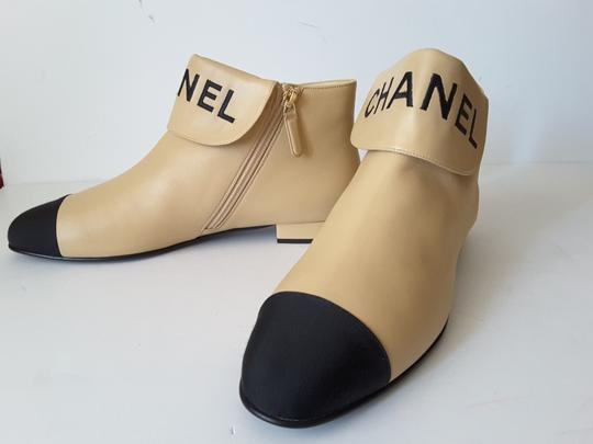 Chanel Ankle Beige/black Boots Image 3