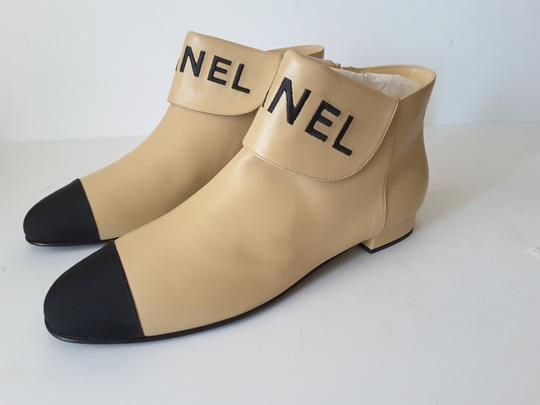 Chanel Ankle Beige/black Boots Image 4