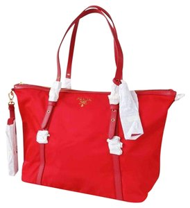 Prada Nylon Shopping Crossbody Strap Tote in red