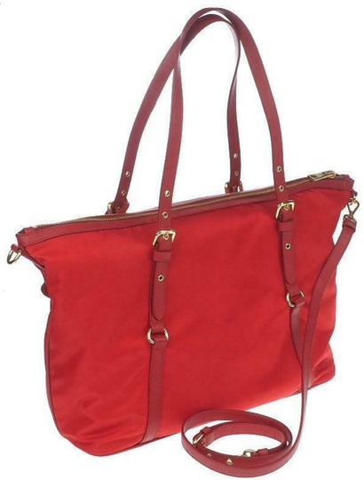 Prada Nylon Shopping Crossbody Strap Tote in red Image 1
