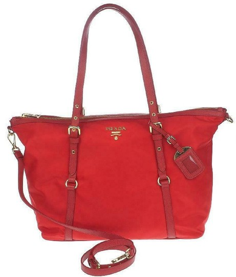 Prada Nylon Shopping Crossbody Strap Tote in red Image 3
