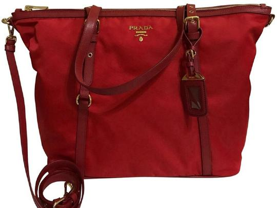 Prada Nylon Shopping Crossbody Strap Tote in red Image 4