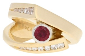 Wilson Brothers Jewelry .86ctw Round Cut Ruby & Diamond Ring 18k Gold & 900 Platinum E4661
