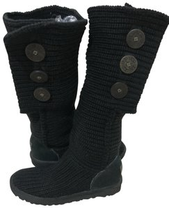 91846009086 UGG Australia Black Uggs Womens 38 Classic Cardy 5819 Knit Boots ...