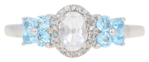 Wilson Brothers Jewelry .91ctw Oval Cut Topaz & Diamond Ring Sterling Silver Blue White E2989