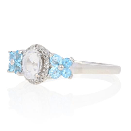 Wilson Brothers Jewelry .91ctw Oval Cut Topaz & Diamond Ring Sterling Silver Blue White E2989 Image 1