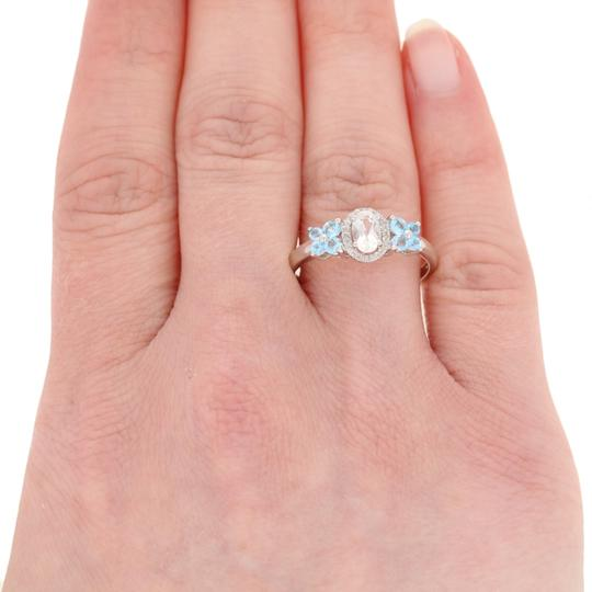 Wilson Brothers Jewelry .91ctw Oval Cut Topaz & Diamond Ring Sterling Silver Blue White E2989 Image 2