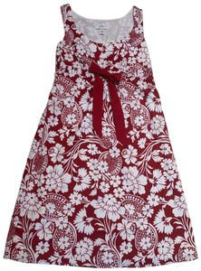 Ann Taylor short dress Red and White Floral Sleeveless Empire Waist Cotton Lined on Tradesy