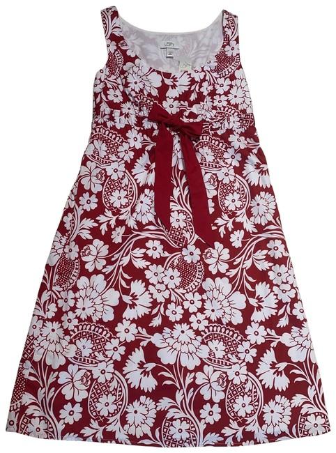 Preload https://img-static.tradesy.com/item/25765500/ann-taylor-red-and-white-floral-loft-summer-mid-length-short-casual-dress-size-4-s-0-1-650-650.jpg
