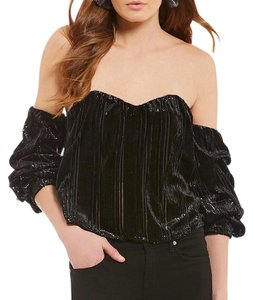 ASTR Boho Velvet Top Black