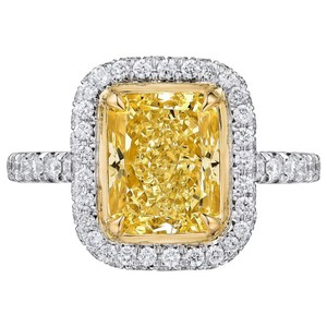 Yellow Diamond Gia Certified 2.50 Carat Fancy Double Halo Pave 18k Engagement Ring