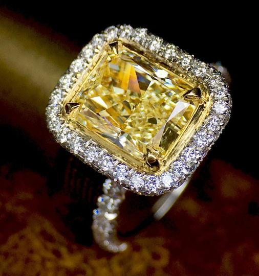 Yellow Diamond Gia Certified 2.50 Carat Fancy Double Halo Pave 18k Engagement Ring Image 1
