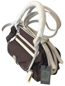 Joy Gryson Satchel in brown and white