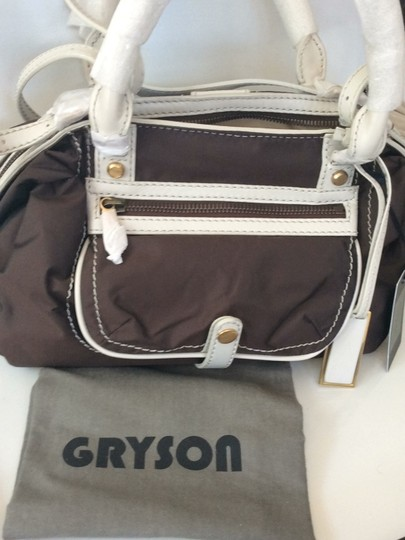 Joy Gryson Satchel in brown and white Image 5