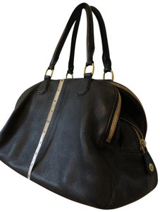 J.Crew Satchel in Black with grey fabric interior.