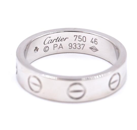 Cartier Rare 1p Diamond 18k Love Size 46 3.5mm wide Ring size 3.5 Image 3