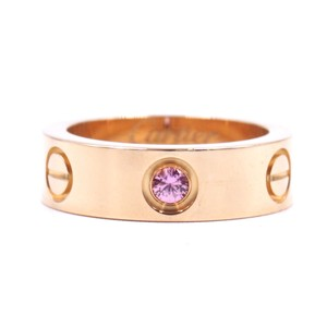 Cartier RARE Cartier LOVE Pink Sapphire 1P 18k Gold ring Size 49 5.5mm wide